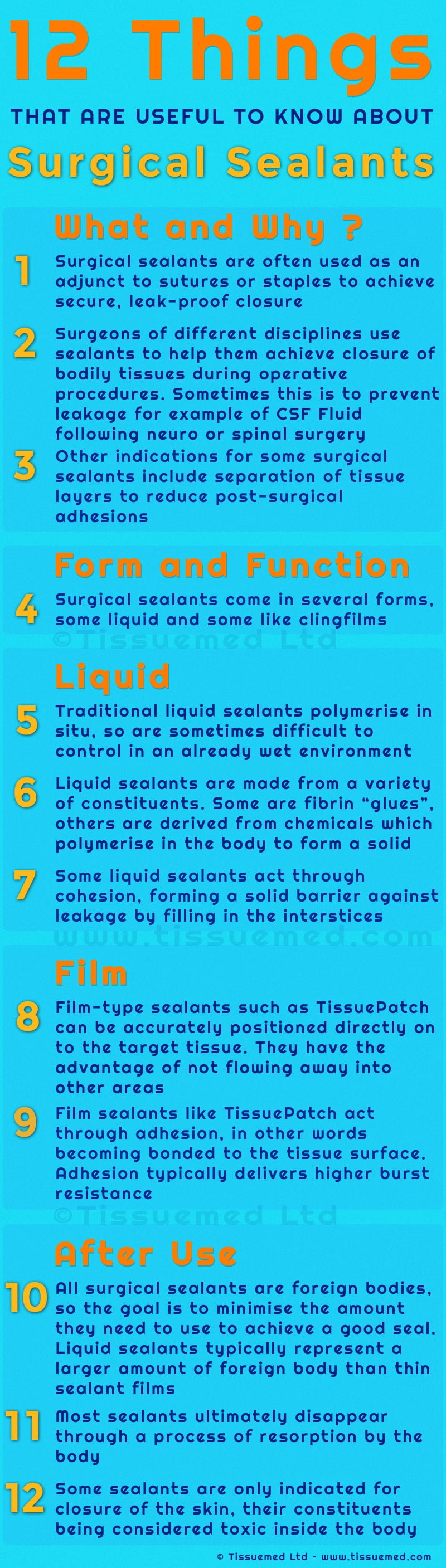 12 Things Infographic about surgical sealants